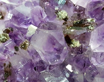 Amethyst Crystal Cluster with Tourmaline and Pyrite- 11 oz. #AMC1