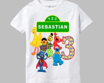 Sesame Street Birthday Shirt - Green Sign Design