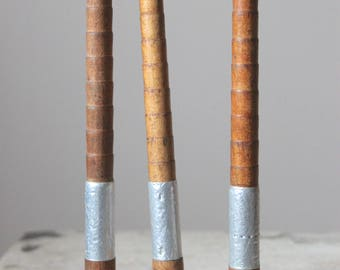 Three Vintage Antique Yorkshire Wooden Bobbin Spools