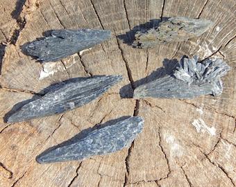 MED Black KYANITE fan natural gemstones intuitively chosen - Reiki Wicca Pagan Geology gemstone lightwork