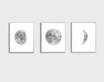 Moon Phases Prints, Set of 3 watercolor Lunar Phases Moon art Print, Grey Black Watercolor Prints Home Decor
