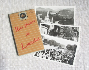 12 vintage french little postcards, 1940s, Black White photos,LOURDES, Old paper, Ephemera, Antique photo
