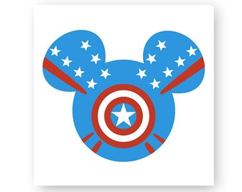 Disney, Marvel, Captain America, Super Hero, Icon Mickey Mouse Head, Ears, Digital, Download, TShirt, Cut File, SVG, Iron on, Transfer