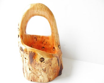 Wood Basket, Wooden Basket, Hand Carved Basket, Handmade Wood Basket, Rustic Basket, Rustic Wood Basket, Rustic Wedding, Wedding Basket