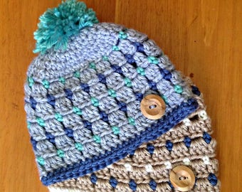 Block Stitch Newborn Hat Pattern - PDF digital download