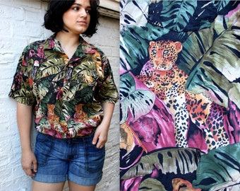 80's Better Safe than Safari Button Down Shirt with Collar . Jungle Cheetah Wild . African Desert Wildlife . Men's Womens Large XL Plus Size
