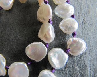 Keishi Pearl Necklace with Purple Silk
