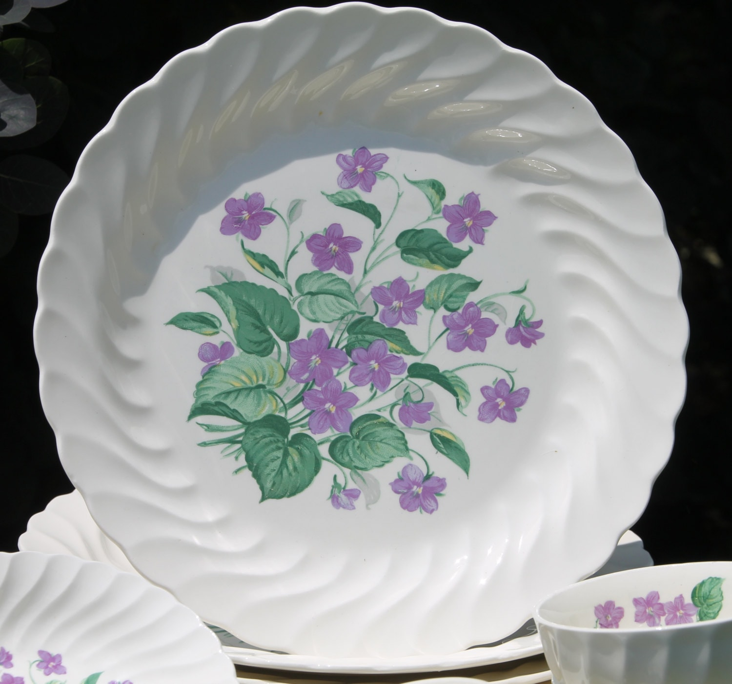 gallery photo gallery photo ... & Vintage Royal Violet Dinnerware Set by Royal China USA with Delicate ...