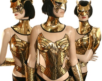 Gold overbust, corset, sci fi costume, harness,armour, cyber, goth, fetish, cyberpunk, futuristic clothing, death metal