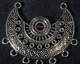 2 supports pendentif demi lune argente vieilli 43x39mm