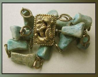 Fancy FOLIATE Clasp, Faux Green Turquoise Stone Bracelet , Three Strand Chain, Smaller Wrists, 1940s Era, Costume,Vintage Jewelry,Women