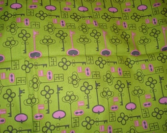 CLEARANCE Suzy's Dollhouse Keys Fabric: One Yard.