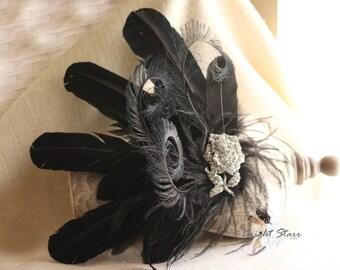 Vintage style headband - black rhinestone headband - black headband - Feather headband - black feather fascinator - wedding headband - crown