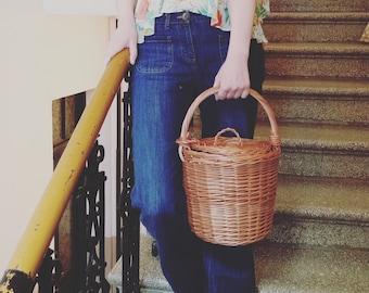 Round Willow Basket, Birkin Basket Middle Size, Round Basket, Round Lidded Basket Jane Birkin Style Basket Purse Basket Bag Wicker Tote