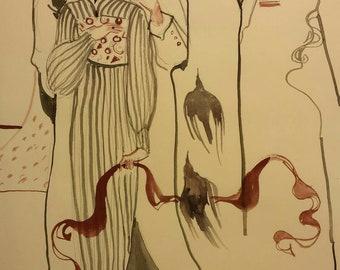 Dream of the Crow Original Surrealist Painting Strange Love Man Woman Suit Tie Raven Bird Black Red Sensuality Music Depeche Mode Modern Ink