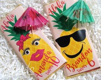 Hawaiian Luau Candy Bar Wrapper - Chocolate Bar Favor - Pineapple Luau Birthday, Tropical, Beach-theme Summer Birthday, End of School Favors