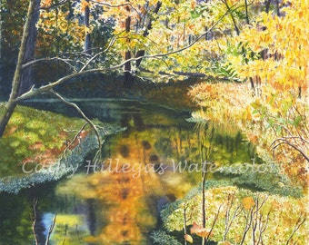 Autumn Landscape Creek Art Watercolor Painting Print by Cathy Hillegas, 8x10, yellow orange green blue, watercolor landscape, reflections