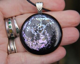 Pink Moon dichroic pendant, enamel and dichroic glass necklace, fused glass necklace, fused glass pendant, pink dichroic, enamel pendant