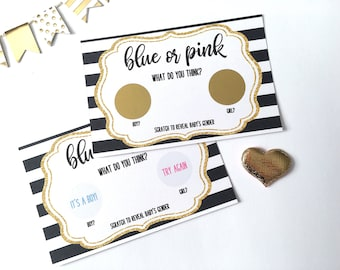 10 Gender Reveal Game Scratch Off Card - Baby Shower - Gender Reveal Party - Blue or Pink - He or She - Black and Gold Scratch Offs Card Set