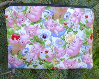 Pigs zip bag, makeup case, accessory bag, zippered pouch, zippered bag, Piglet Play on white , The Scooter
