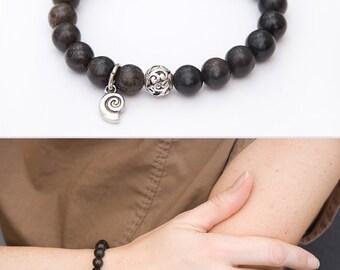 Agate gemstone bracelet Brown beaded bracelet Women agate jewelry Meditation elastic bracelet Healing stone Gem Jewelry Yoga bracelet