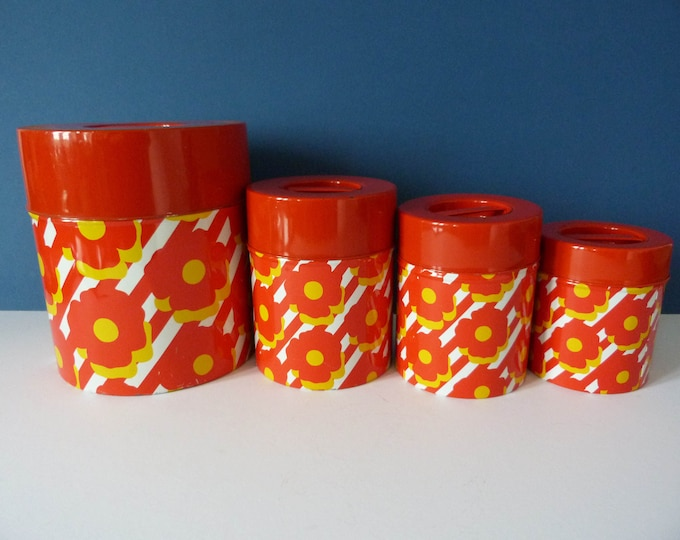 Nesting metal storage tins vintage 1970's flower power