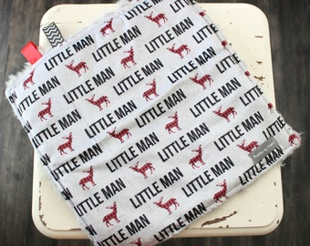 Little Man Blanket - Buffalo Plaid Blanket - Deer blanket - Boy Blanket - Boy Lovey - Soft Lovey - Fur Lovey - Minky Lovey - Deer Lovey