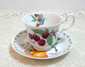 Roy Kirkham Heritage Fruit Bone China Teacup And Saucer, English Teacup And Saucer