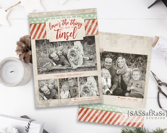 Tinsel--Christmas Card Template for Adobe Photoshop, Photographer Template, Digital Template, Card Design, Instant Download, Commercial Use
