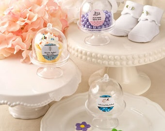 50 Personalized Baby Shower Medium size Cake Stand Plastic Box Favors - Set of 50