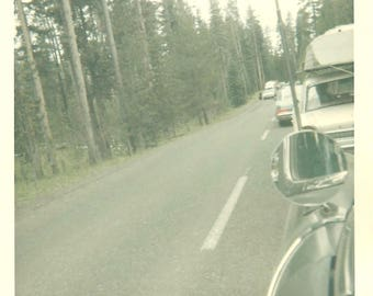 "Vintage Snapshot ""View In The Rearview Mirror"" Kodacolor Found Vernacular Photo Road Block Traffic Jam"