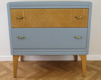 Vintage Oak chest of drawers, painted in a blue/grey
