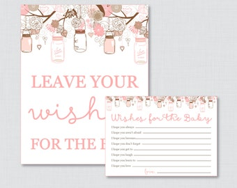 Wishes for Baby Baby Shower Activity Printable Well Wishes for Baby Cards and Sign - Pink and Brown - Instant Download - Mason Jar 0064-P