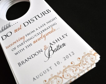 Wedding Door Hangers - Do not disturb signs - Guest Bags - Favors for Wedding - Gold Wedding