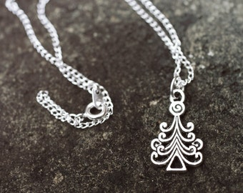Silver Christmas Tree Necklace