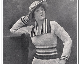 """1910s WWI """"The Allies"""" Sweater -- Instant Download PDF -- Knitting E-pattern"""
