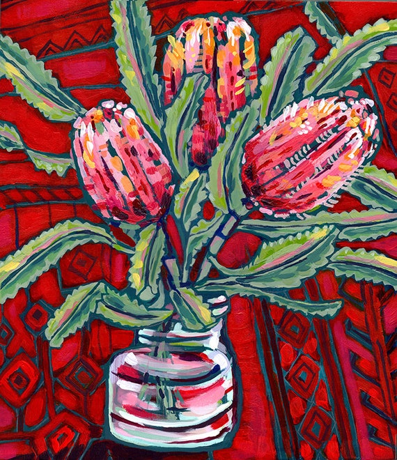 Banksia On Persians No.2 Archival Wall Art Print Illustration Australian Native art prints