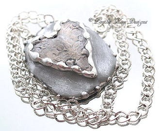 Rustic Heart Necklace Mixed Media Solder and Clay Industrial Look Heart Pendant Lorelie Kay Original