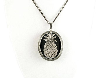 Pinapple Pill Box Locket Inlaid in Hand Painted Glossy Black Onyx Enamel Burnished Silver Oval Locket Necklace