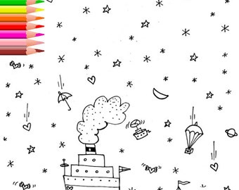 Printable Coloring Page, Coloring Page, Digital Coloring Page, Boat Coloring, Print and Color,  Kids Coloring Pages, INSTANT DOWNLOAD