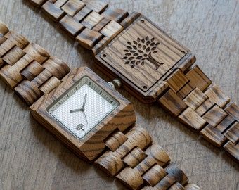 Wood Watches, watch, clock, Wooden, zebrawood mens watch, Father's day,groomsmen gift, square,  graduation, birthday gift, anniversary gift