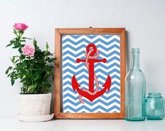 Nautical Anchor Art - 8x10 Nursery Art, Nursery Decor, Nautical Decor, Nautical Nursery, Anchor Decor, Baby Boy