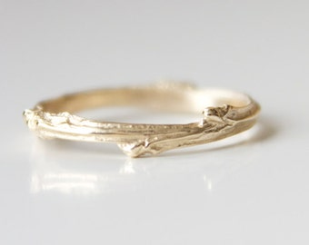 Yellow Gold Twig Ring - Rose Gold Twig Branch Ring - Twig Ring 14k Yellow Recycled Gold - Branch Band - Bohemian Ring - Boho Wedding Band