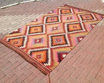 Diamond design Kilim rug, 104'' x 61'' Vintage Turkish rug, rugs, area rug, vintage rug, bohemian rug, eccentric rug, anatolian rug, rug,445