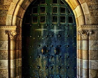 Bryn Athyn Cathedral Doors Medieval Gothic Architecture Stone Archway Doorway Blue Doors Print Photography Canvas Art Decor