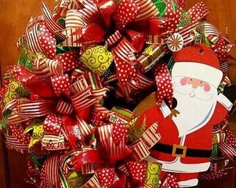 Santa Christmas Wreath Front Door Wreath Best Door Wreath Holiday Wreath Winter Wreath Red White Green
