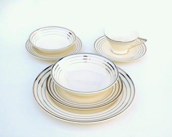 Classic MidCentury Dinnerware for 6, 12: Salem China Zephyr Platinum in Century, Saphire, Streamline & Zephyr Shapes, Vintage Wedding China