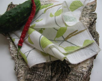 Set of 10 Green,White,Beige Birch Tree Linen Napkins Natural Linen Dinner Set
