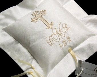 Silk Ring Bearer Pillow, Cross Ring Pillow, Silk Wedding Pillow, Ring Cushion, Ring Holder, Monogram Ring Pillow, Style 4203