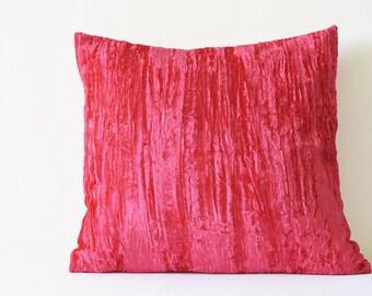 Hot Pink Crushed Velvet Pillow , Hot Pink Velvet Cushion Cover , Decor Pillow , Fuchsia Velvet Throw Pillow , Housewares , Velvet Cushion